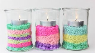 Glass Lantern with Colored Rice - Home Decoration - DIY Tutorial - DIY