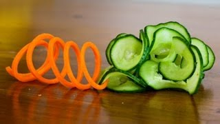 How to Make a Carrot Slinky and Cucumber Garnish