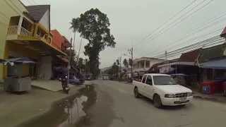 Driving into the town of Khanom, Thailand on my motor bike