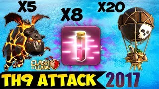 8 HASTE SPELL + PENTALAVA: TH9 BEST WAR ATTACK STRATEGY 2017 (Updated) | Clash of Clans
