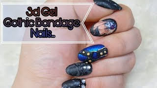 Gothic Bondage Nail art: 3d gel nails done easy 😲😜