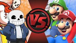 SANS and PAPYRUS vs MARIO and LUIGI!  Cartoon Fight Club Episode 96