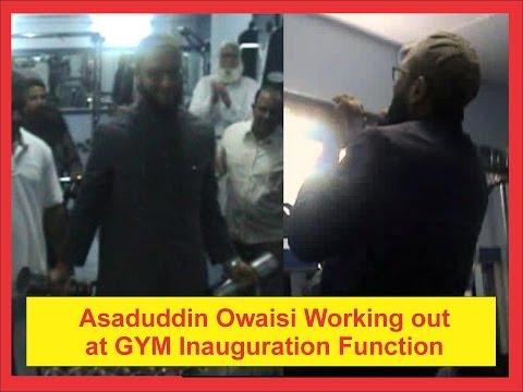 Asaduddin Owaisi exercising at Salar e Millat Gym Inauguration Function