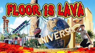 FLOOR IS LAVA CHALLENGE AT A THEME PARK! | AMUSEMENT PARK FLOOR IS LAVA CHALLENGE!