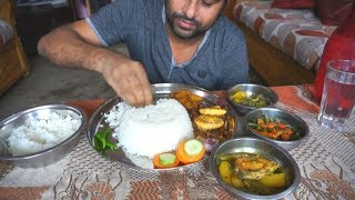 Eating show with sound | eating Egg and onion fried and hilsha fish curry