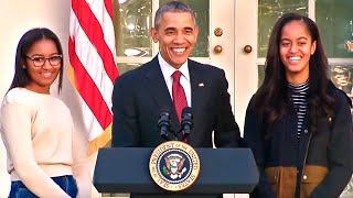 Obama Jokes With Daughters...And A Turkey