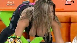 Romanian TV presenter with HUGE BOOBS doing gymnastics