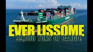 Evergreens Lissome Container Ship 4k Aerial