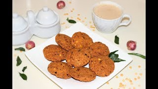 പരിപ്പുവട | Thattukada Special Parippu Vada | Kerala Style Lentil (Dal) Fritters | Masala Vada