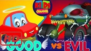 Songs for kids    Little Red Car vs Haunted House Monster Truck   Good vs Evil   Original Song For