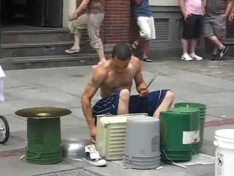Amazing Street drummer One of the best i ve seen.