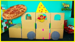 PIZZA DELIVERY Box Fort Challenge!