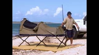 The ultimate combo for beach camping – an Adventure Kings swag and stretcher