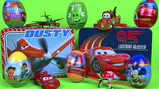 Lunch Box Suprise Toys Disney Cars McQueen with Surprise eggs Planes Dora The Explorer Angry Birds