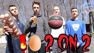 EPIC 2 ON 2 BASKETBALL GAME WITH EGGS AND HOT SAUCE!