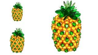 পুতির আনারস||পুতির ফল||How to make beaded fruits pineapple||setting pineapple||Diy craft