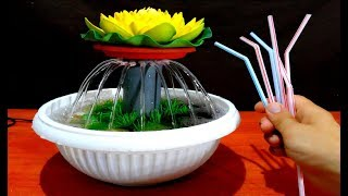 How to make Tabletop water Fountain using Drinking Straws / DIY