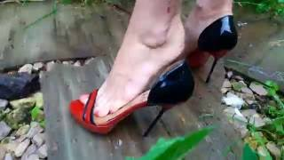 Abused trashed high heels sandals crush