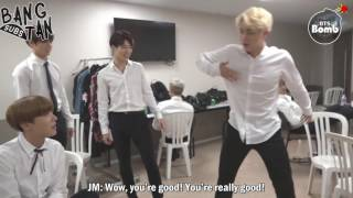 [ENG] 160922 BOMB: RM and Jin Dance Stage Behind the scene for BTS DAY PARTY 2016