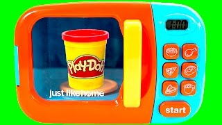 Just Like Home Microwave Oven Toy Play-Doh Cooking Toys Cutting Food Kitchen Playset Toy Videos
