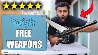 I Bought Every Free DANGEROUS WEAPON On WISH!! *MYSTERY BOX*