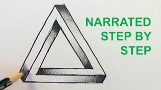 How to Draw The Impossible Triangle: Optical Illusion Narrated Step by Step