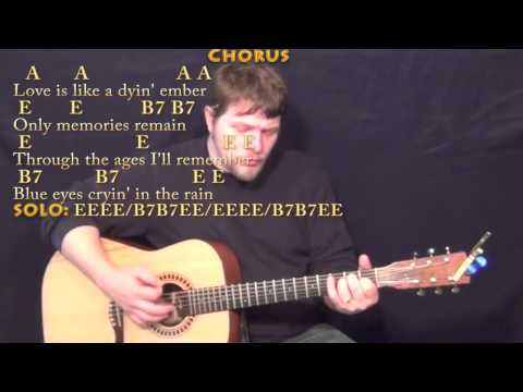 Blue Eyes Crying in the Rain (Willie Nelson) Strum Guitar Cover Lesson with ChordsLyrics