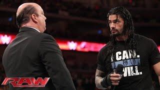 Roman Reigns interrupts Paul Heyman: Raw, March 16, 2015
