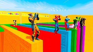 LEARN COLORS w/ SUPERHEROES BASE JUMPING and Colour Motorcycles Cartoon for Kids