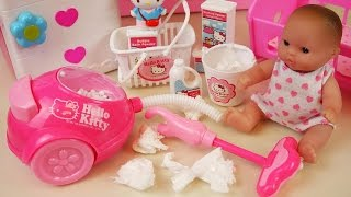 Baby doll clean house with Hello Kitty vacuum machine and cleaning kit toys