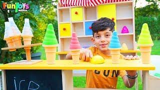 Jason Pretend Play Selling Sand Ice Cream, Fun Kids Video