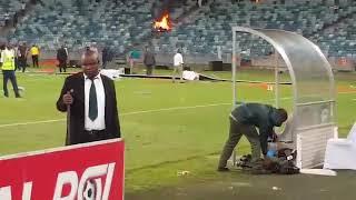 Kaizer Chiefs fans burn the stadium