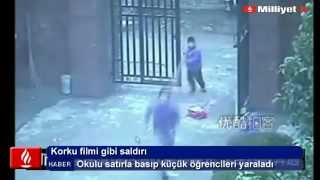 Okulda satırlı saldırı kamerada - İzle