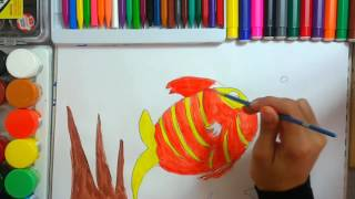 How kids draw Fish, and color it...teaching drawing