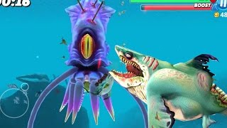 ZOMBIE SHARK Vs GIANT SQUID - COLOSSAL SQUID BOSS || Hungry Shark World