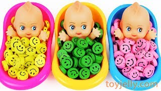 Learn Colors Baby Doll Finger Family Song Smiley Candy Bath Time Surprise Eggs Toys for KID Children
