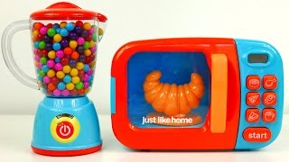 Microwave and Blender Just Like Home Kitchen Toy Appliances and Surprise Eggs for Kids