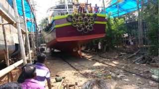 Fishing boat launching...