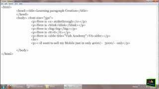 tt, abbr, blink, strike tags -- HTML paragraph in Hindi (part 5/7) [ html in Hindi ]