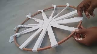 How to make simple Hula Hoop rug/doormat/carpet/ragrug/tablemat weaving,DIY T-shirts recycling ideas