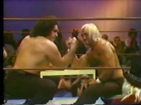 Hulk Hogan vs. Andre the Giant Arm wrestling classic match