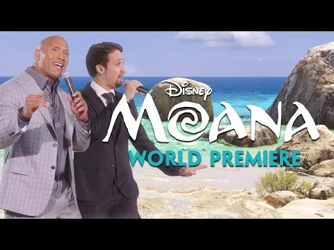 Dwayne Johnson and Lin Manuel Miranda Sing You re Welcome at the Moana Movie Premiere