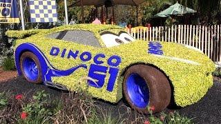 Disney Pixar Cars 3 Lightning McQueen & NEW Cruz Ramirez Topiary at Epcot Flower & Garden Festival