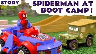 Spiderman at Disney Cars Toys Boot Camp Lego Spider-man vs Venom Construction Toy with Thomas Tank