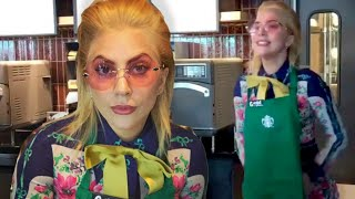 LADY GAGA ATENDIENDO EN STARBUCKS