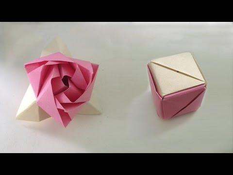 Оригами роза. Модульная роза, куб трансформер. Origami Rose, the cube transformer. - videooin.com - Watch High Quality Videos
