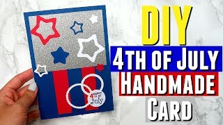 DIY Handmade 4th of July Card using Silhouette Cutting Machine, DIY Pinterest Independence Day Card