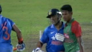 Dhoni fined 75% of his match fees for elbowing Mustafizur
