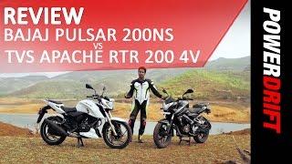TVS Apache RTR 200 4V VS Bajaj Pulsar 200 NS  : Review : PowerDrift