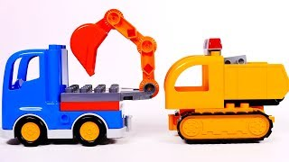 Excavator and Dump Truck Learn Colors Building Blocks Compilation for Children